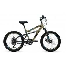 """Велосипед 20"""""""" ALTAIR MTB FS disc двухподвес, рост 14"""""""", 6ск., бежевый/чёрный"""