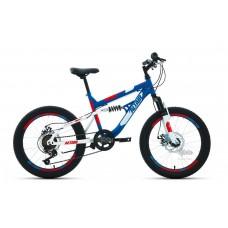 """Велосипед 20"""""""" ALTAIR MTB FS disc двухподвес, рост 14"""""""", 6ск., синий/красный"""