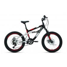 """Велосипед 20"""""""" ALTAIR MTB FS disc двухподвес, рост 14"""""""", 6ск., чёрный/красный"""