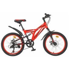 """Велосипед 20"""""""" AVENGER F201D двухподвес, рост 12"""""""", 7ск., диск., красный"""